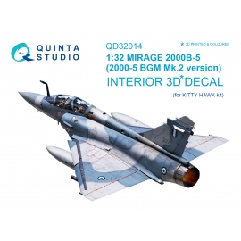 Mirage 2000B-5 (2000-5BGM Mk2) 3D-Printed & coloured Interior on decal paper (for Kitty Hawk kit)
