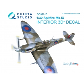 Spitfire Mk.IX 3D-Printed & coloured Interior on decal paper (for Tamiya kit)
