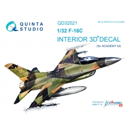 F-16C 3D-Printed & coloured Interior on decal paper (for Academy kit)