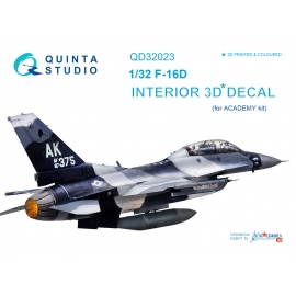 F-16D 3D-Printed & coloured Interior on decal paper (for Academy kit)