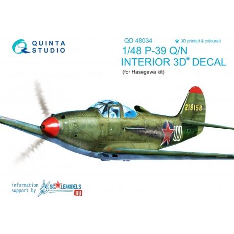 P-39Q/N 3D-Printed & coloured Interior on decal paper (for Hasegawa kit)
