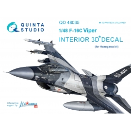 F-16C 3D-Printed & coloured Interior on decal paper (for Hasegawa kit)
