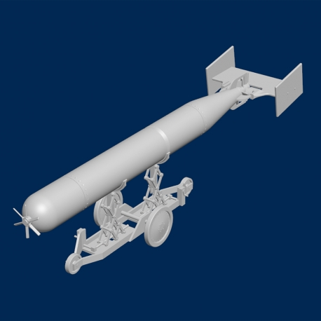 Royal Air Force / Royal Navy WWII Torpedo with trolley