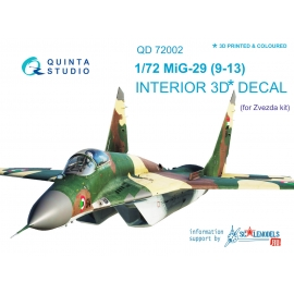 MiG-29 9-13 3D-Printed & coloured Interior on decal paper (for 7278 Zvezda kit)