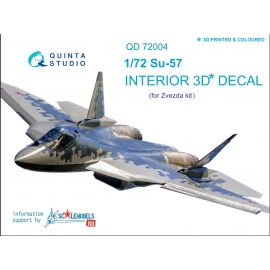 SU-57 3D-Printed & coloured Interior on decal paper (for Zvezda kit) (2 version blue&grey panel colour)