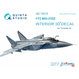 MiG-31DZ 3D-Printed & coloured Interior on decal paper (for Trumpeter kit)