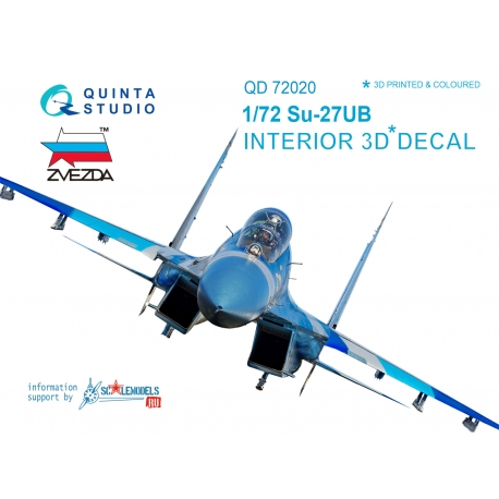 Su-27UB 3D-Printed & coloured Interior on decal paper (for Zvezda kit)