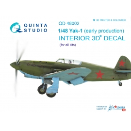 Yak-1 (early production) 3D-Printed & coloured Interior on decal paper (for all kits)