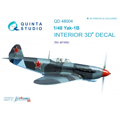 Yak-1B (late production) 3D-Printed & coloured Interior on decal pape (for all kits)