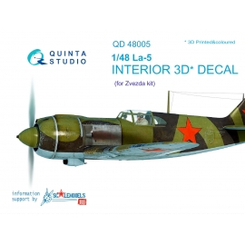 La-5 3D-Printed & coloured Interior on decal paper (for Zvezda kit)