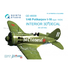 I-16 type 18/24 3D-Printed & coloured Interior on decal paper (for all kits)