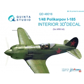 Polikarpov I-185 3D-Printed & coloured Interior on decal paper (for ARK kit)