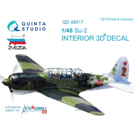Su-2 3D-Printed & coloured Interior on decal paper (for Zvezda kits)