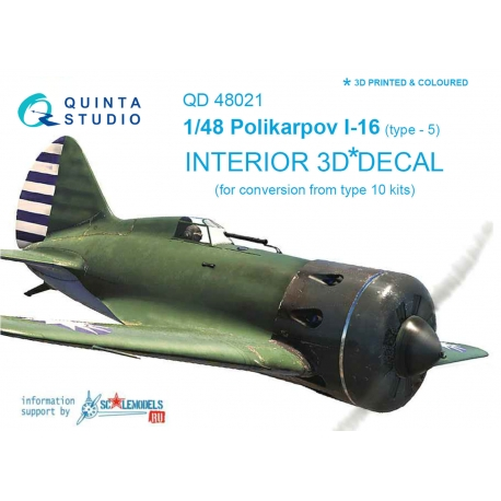 I-16 type 5 3D-Printed & coloured Interior on decal paper (for conversion from all I-16 type 10 kits)