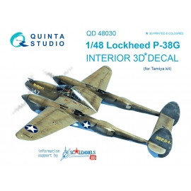 P-38G 3D-Printed & coloured Interior on decal paper (for Tamiya kit)