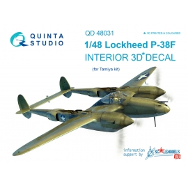 P-38F 3D-Printed & coloured Interior on decal paper (for Tamiya kit)