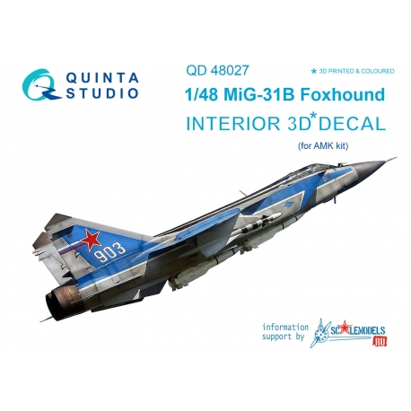 MiG-31B 3D-Printed & coloured Interior on decal paper (for AMK kit)
