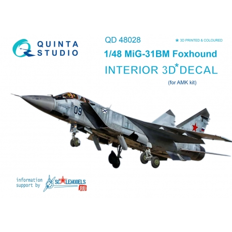 MiG-31BM 3D-Printed & coloured Interior on decal paper (for AMK kit)