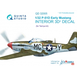 P-51D (Early) 3D-Printed & coloured Interior on decal paper (for Tamiya kit)