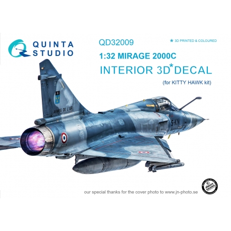 Mirage 2000C 3D-Printed & coloured Interior on decal paper (for Kitty Hawk kit)