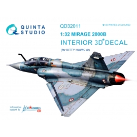 Mirage 2000B 3D-Printed & coloured Interior on decal paper (for Kitty Hawk kit)
