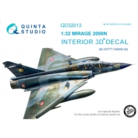 Mirage 2000N 3D-Printed & coloured Interior on decal paper (for Kitty Hawk kit)